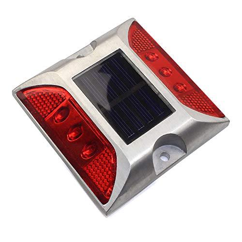 Luz solar de techo LED, 6 luces solares LED para el jardín, para el suelo, la escalera de la escalera o para la entrada de caminos. Tamaño libre rojo