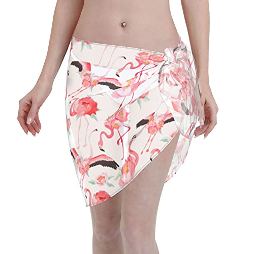 marat Women's Wrap Skirt Flamingo Tie Up Waist Swimsuit Cover Ups Sarong Swimwear Beach Summer Shawl 55.1 X 18.6 Inch Black