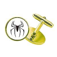 昆虫のクモがクモの巣のイラストブラック スタッズビジネスシャツメタルカフリンクスゴールド