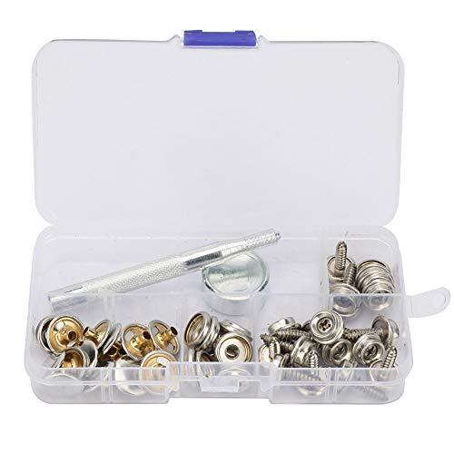 Kit de sujetadores a presión de cuero Kit de botones a presión para cubierta de barco con perno de presión de metal de cuero de 15 mm