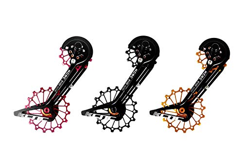 KCNC Road Cyclocross Bicycle Bike OSPW Oversized Derailleur Pulley Wheel System for Shimano R9100 R8000 use 12t top+16t Bottom Pulley in Black/Red/Gold Colors (Black)