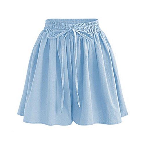 Womens Shorts High Waist Drawstring Elastic Waist Knee Length Shorts Light Blue Tag M-US 2-4