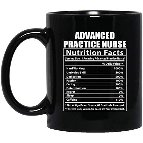Taza de café negra con información nutricional de enfermera de práctica avanzada divertida, 11 oz