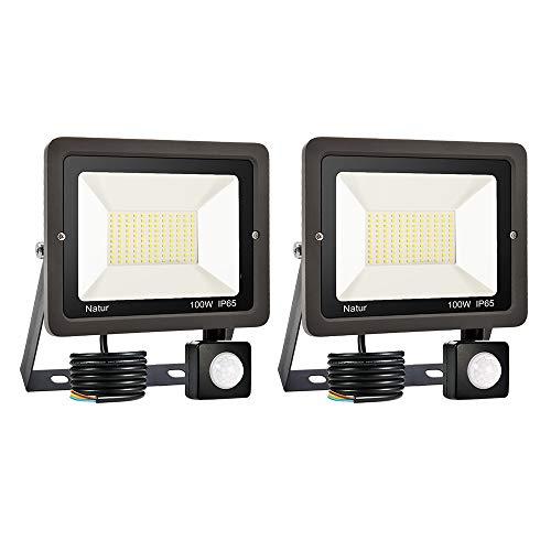 2er 100W Foco LED con Sensor de Movimiento, Proyector Led Exterior Super Brillante Blanco Frío IP65 Impermeable Foco LED Detector para Jardín, Patio, Garaje