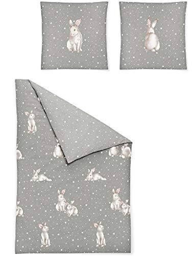 Irisette Biber Bettwäsche Dublin Schneehase grau 8026-11 1 Bettbezug 135 x 200 cm + 1 Kissenbezug 80 x 80 cm