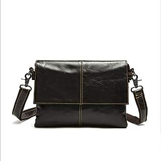 FYXKGLan Men's Layer Cowhide Bag Leisure Shoulder Messenger Bag Double Zippered Genuine Leather Bag (Color : Coffee)