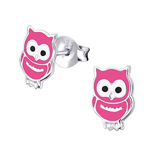 Laimons meisjes kids kinderoorstekers oorbellen kindersieraden uil vogel kauwen kuiken dier roze zwart van sterling zilver 925