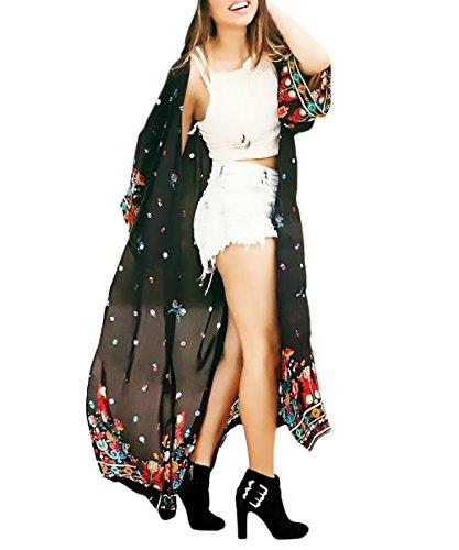 Pareos Playa Mujer Verano Moda Vintage Clásico Especial Estampado Flores Gasa Cardigan Largos Elegantes Manga Larga Suelto Casual Boho Etnicas Estilo Bikini Cover Up Kimono