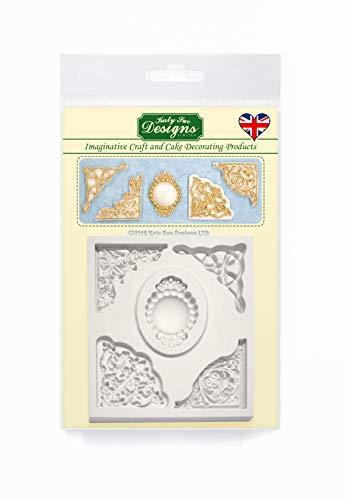 Moule en silicone de collection d'angle décoratif pour la décoration de gâteaux, l'artisanat, les petits gâteaux, le sucre, les biscuits, les bonbons, les cartes et l'argile, Grey