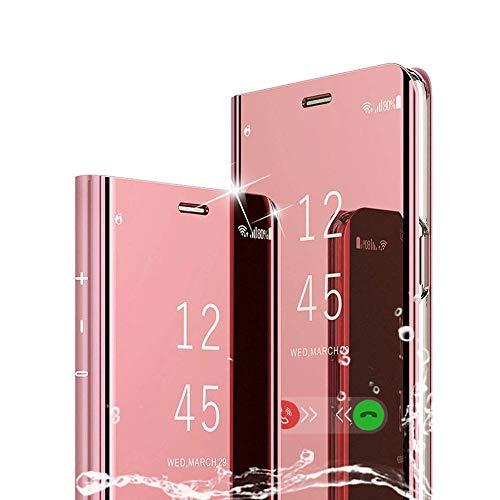 TOPOFU für Samsung Galaxy Note 20 Hülle, Plating Smart Clear View Hülle Flip Handyhülle mit Standfunktion Anti-Scratch Bookstyle Tasche Schutzhülle für Samsung Galaxy Note 20 (Rose Gold)
