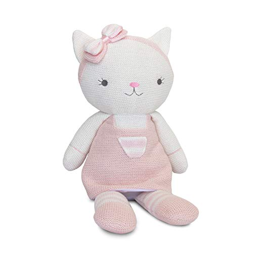 Living Textiles Plush Toy (Ava Cat). Knitted Stuffed Animal Toy with Rattle.