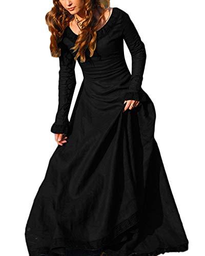 Disfraz Traje Medieval para Mujer Vestido Largo Vintage Princesa Reina Negro M