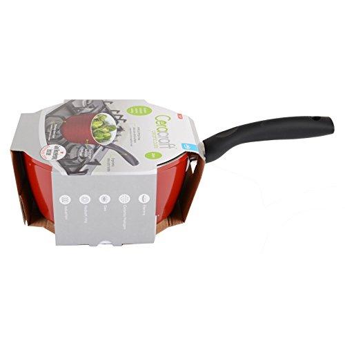 JML Ceracraft 20cm Ceramic Saucepan Pan Pot Non Stick Multi Purpose Easy Clean Aluminium & Steel Base Kitchen Utensil (Red)