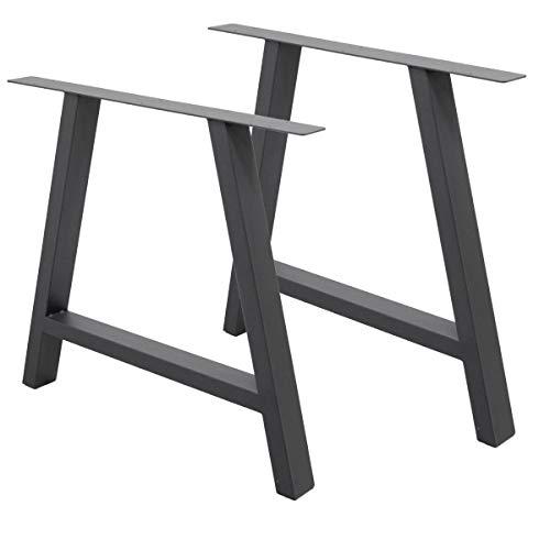 ECD Germany 2 Stück Tischgestell A-Design - 70 x 72 cm - aus pulverbeschichtet Stahl - Dunkelgrau - Industriedesign - Tischuntergestell Tischbeine Tischkufen Tischfüße Set