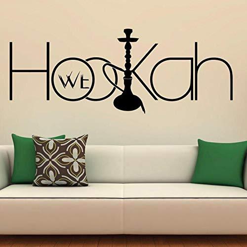 AiEnmaw Pegatina de pared con cachimba para pared de vinilo con diseño árabe para decoración de interiores del hogar, murales de arte para la decoración del salón de la cachimba 42 x 16 cm