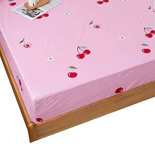 TBATM Microfibre Fitted Sheet, Waterproof And Urineproof Super Soft Mattress Cover with Elastic Adjustment Buckle Design Cherry Pink,180x220cm