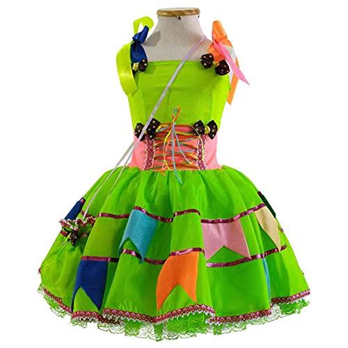 Vestido de Festa Junina Bebê Luxo 1 á 2 Anos com Bolsa (M 1-2 Anos)