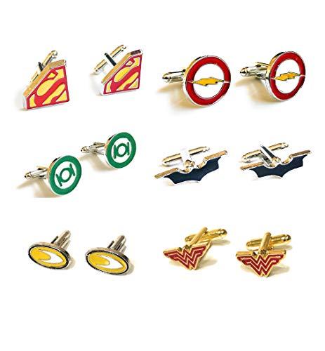 Superhelden-Manschettenknöpfe, 6er-Set, Batman, Superman, Wonder Women, Flash, Aquaman und Green Lantern DC + Kraft-Box + 6 Geschenkbeutel
