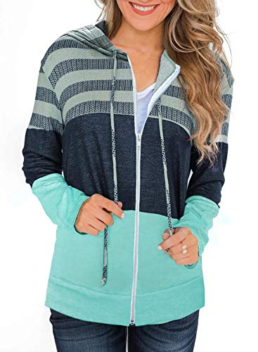 SMENG Pullover Damen Kordelzug Kaputzenpullis Comfy Longsleeve mit Reissverschluss Sweatshirt Übergroße Hoodie Mode Grün Size M