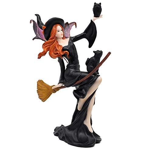 """Comfy Hour Fairyland Collection 9"""" Dark Fairy Witch On Magic Broom with Black Cat Figurine, Halloween Theme Gift, Home Decoration and Collectibles, Polyresin"""