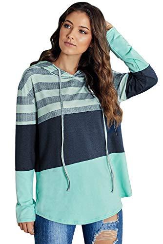 MASHIKOU - Sudadera de manga larga para mujer, talla grande, informal, con capucha, para invierno, de algodón, con capucha verde M