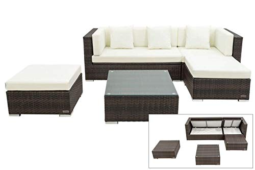 OUTFLEXX Loungemöbel-Set, braun marmoriert, 5 Pers, Polyrattan, wasserfeste Kissenbox, inkl. Beistelltisch