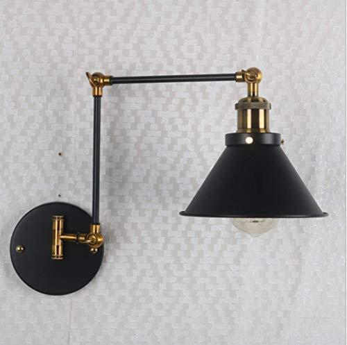 Zi Yang Clásico Industrial lámpara de Pared Hierro Apliques de Pared Cabeza Ajustable Luz para Leer Americano para estudiar Hotel Desván Sala de Estar Cuarto Lámpara de Noche 1 x E27 máx. 40 W Negro