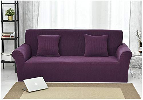 Easy Fit Elastic Fabric Stretch Couch Slipcover,Knitted Check Stretch Sofa Cover, Full Cover Non-Slip Cushion Cover, Home Anti-Fouling Protective Cover-Noble Purple_190-230Cm