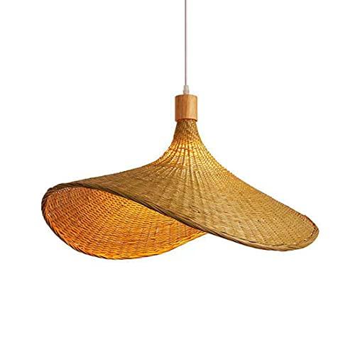 FREETT Bambú Lámpara Colgante, Sombrero Luz Colgante, Enchufe E27, Cable Ajustable, Vintage Minimalista Iluminación Colgante para Cocina Restaurante Dormitorio