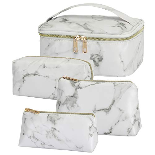 Hedume Set of 4 Makeup Bags, Portable Travel Cosmetic Bags, Marble Waterproof Organizer Case with Gold Zipper for Women, Girls and Men