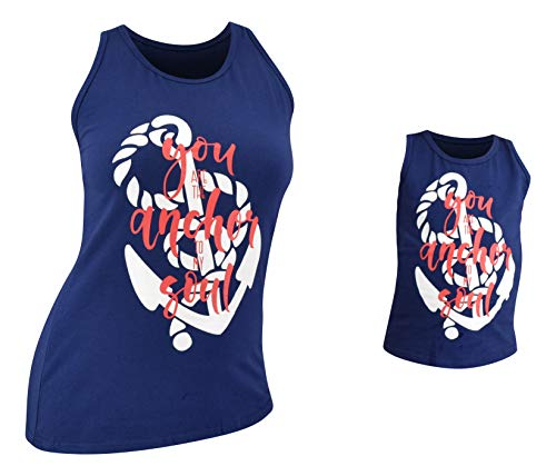 Unique Baby Girls Mommy & Me Racerback Anchor Tank Tops...