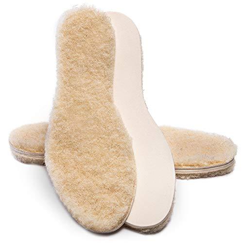 SULPO 2 Paare Einlegesohlen mit Schafwolle & Latex - Warme Isolierende Winter Schuheinlagen aus Wolle – Thermo Schuheinlagen mit natürlicher Schafswolle - Einlagen für Winterschuhe/Gr. 35-46