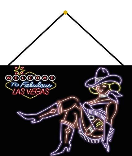 Generisch Cartel de Chapa 20 x 30 cm Curvado con cordón Welcome to The Fabulous Las Vegas Estilo neón Regalo Decorativo Cartel