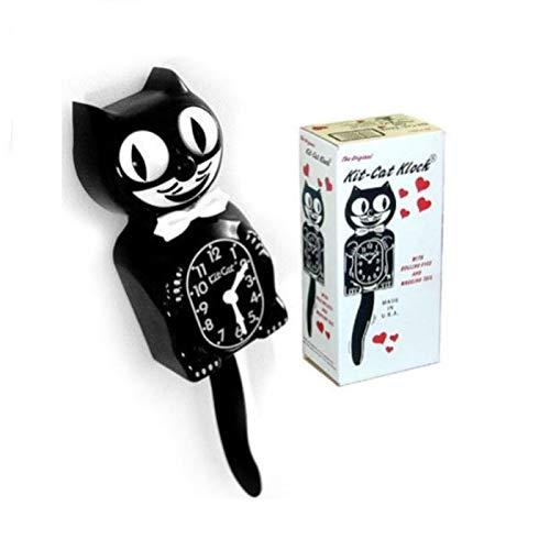 Hotrodspirit Wanduhr Katze Set, schwarz, 33 cm Wanduhr, Deko-Us