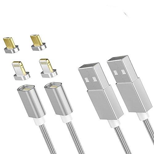 Zrse(ザスイ)第五世代 2in1ケーブル マグネット式 2M 2本入り lightning Micro USB 充電ケーブル 断線防止 ...