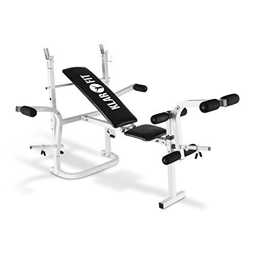 Klarfit HB3BC-W banco de musculación (curler de brazos, curler de piernas, reposa barra, PVC, hasta 160 kg, sección larga, cómodo, secado rápido, no irrita, regulable) - blanco