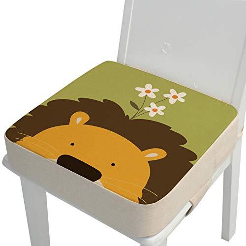 Kinder Sitzkissen Sitzerhöhung Stuhl, Fansu Baby Tragbar Sitzkissen Cartoon Design Quadratische Verstellbar Zerlegbar Kleinkinder Esszimmerstuhl ErhöHen Pad Esszimmer Boostersitze (Löwe,40*40*10cm)