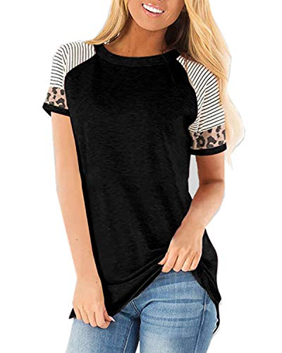 CNFIO Camisetas Mujer Manga Corta Leopardo Raya Cuello Redondo Blusas para Mujer Suelta Tops Mujer Fiesta A-Negro L
