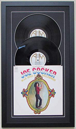 Frame My Collection Record Album Double Vinyl LP Frame Display Featuring Black Matting Juke Box Style Design (Black Frame) Holds 2 Records and Album Cover