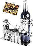 BRUBAKER Portabottiglia da Vino dal Raffinato Design Pianista con Pianoforte - Portabottiglie per Vino in Metallo con Biglietto di Auguri