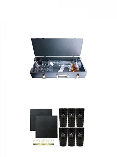 Kalashnikov Wodka Munitionskiste 1,0 Liter Wodka 1 x 0.2 Liter Kräuterlikör und 6 Gläser + Schiefer Glasuntersetzer eckig ca. 9,5 cm Ø 2 Stück + Three Sixty black Vodka Glas 6 Stück (black)