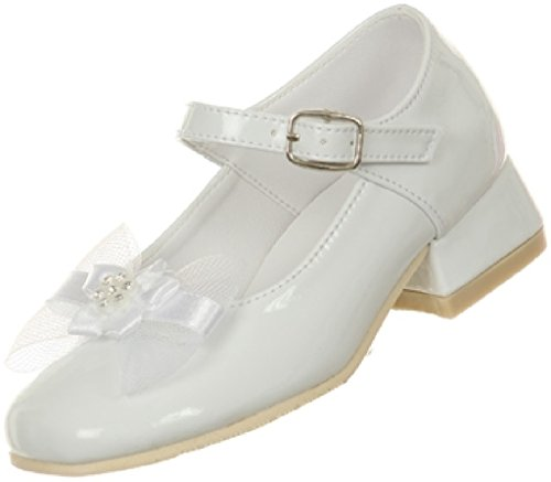 Little Girls Classic Style Patent Bow Stud Ankle Strap Kids Shoes (66T1R5) White Little 12