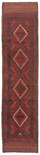 eCarpet Gallery Runner Rug for Hallway, Entrance, Kitchen | Hand-Knotted Wool Runner Rug | Tajik Caucasian Bordered Red Rug 1
