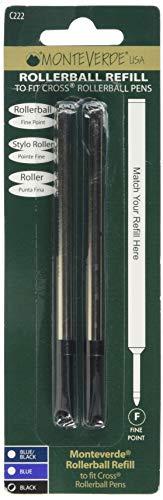 Monteverde c222bk Recambio de bolígrafo Cross Adecuado para diestros/zurdos Negro
