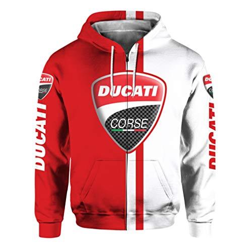 Unisex Frühling Herbst Langarm Oberbekleidung 3D Digital Ducati Logo Gedruckt Reißverschluss Hoodie Casual Sweatshirt Gr. XXXX-Large, 1