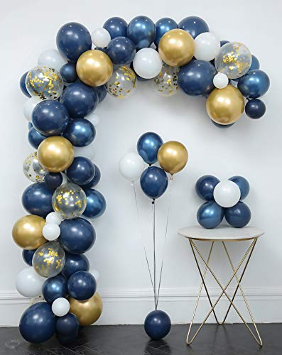Navy Blue Balloons 121 Pcs Garland Kit & Confetti Balloons,Metallic gold,White Latex Balloon,Tying tools,Decorating Strip,Points Stickers,Flower Clips,Ribbon,Birthday Shower Wedding Party Decorations