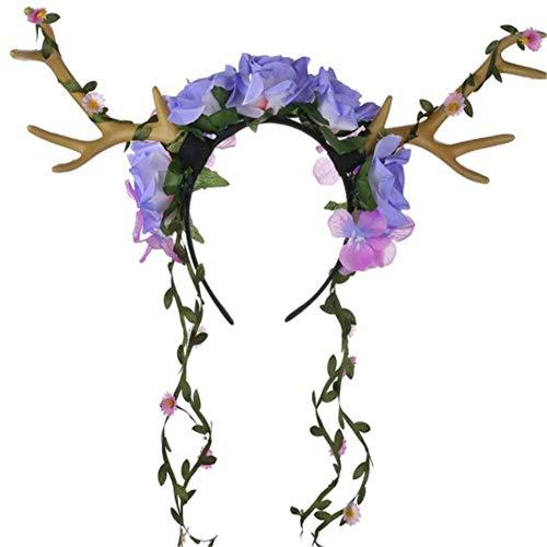 CHUAGNQI Stirnband Kinder Simulation Hörner Parteistirnband Weihnachtsstirnband Kinderferien lila Blume Kopfschmuck handgefertigt