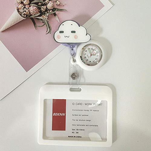 Redondo Reloj Prendedor de Broche,Reloj de Bolsillo de Silicona retráctil, Tarjetero médico para Examen-Amarillo,Reloj de Bolsillo Médico Colgante
