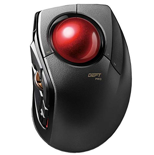 ELECOM Huge Wired/Wireless/Bluetooth Finger-Operated Trackball Mouse, 8-Button Function with Smooth Tracking, Precision Optical Gaming Sensor (M-DPT1MRXBK) (Renewed)