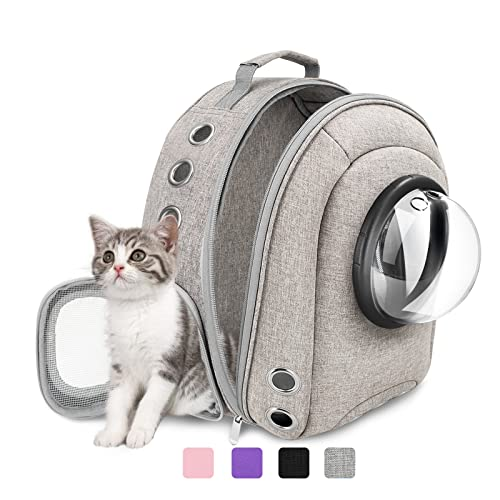 Prodigen Cat Backpack Carrier Bubble, Small Dog Backpack Carrier for Small Dogs, Space Capsule Pet Carrier Dog Hiking Backpack Travel Carrier-Gray